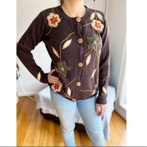 Vintage Embroidered Beaded Floral Cardigan Brown